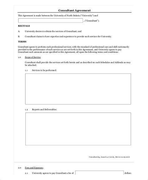 7 Sle Consulting Agreement Forms Sle Templates Consulting Fee Template