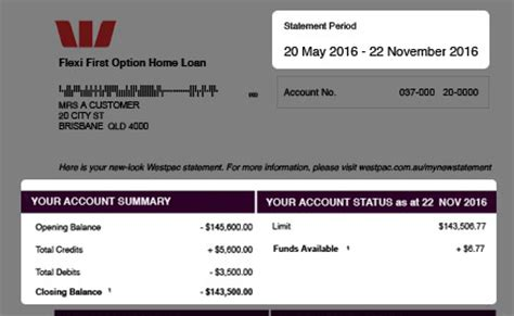 Westpac Credit Letter Personal Loans 1 Month Bank Statement
