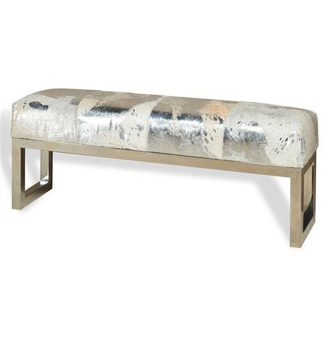 hide bench moro hollywood regency grey silver metallic hide steel