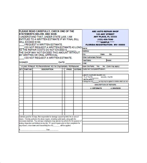 mechanic invoice template auto repair invoice template 8 free sle exle