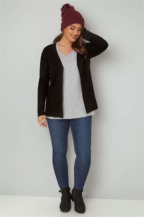 Zip Knit Cardigan black cardigan with zip front plus size 16 to 36