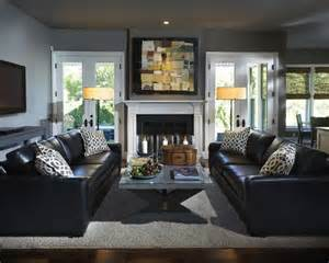 Black Sofa Living Room Ideas How To Decorate Around The Black Leather Living Room Fireplaces Furniture