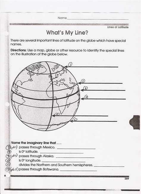 globe maps and lines of latitude worksheet mrfordsclass