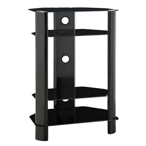 Audio Component Shelf by Innovex Stanford 4 Shelf Audio Component Stand Black Glass