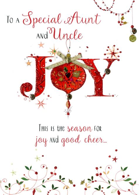 aunt uncle embellished christmas card cards