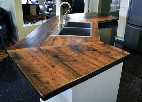 How To Build A Kitchen Island With Seating reclaimed wood counter tops