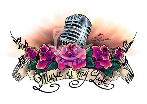 music is life tattoo is my design best designs