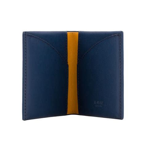 Origami Leather Wallet - a slim leather wallet origami blue yellow wallets