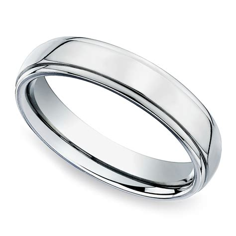 beveled s wedding ring in white gold 5mm