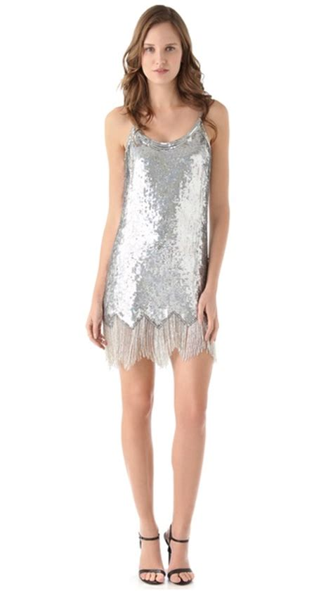 fringe beaded dress lyst fringe beaded dress in metallic