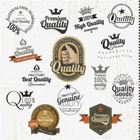 set of vintage badges labels vector 04 vector label