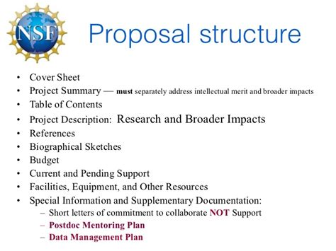 nsf format proposal nsf proposal writing