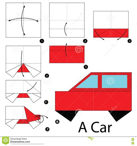How To Make A Car With Paper - step by step how to make origami a car stock