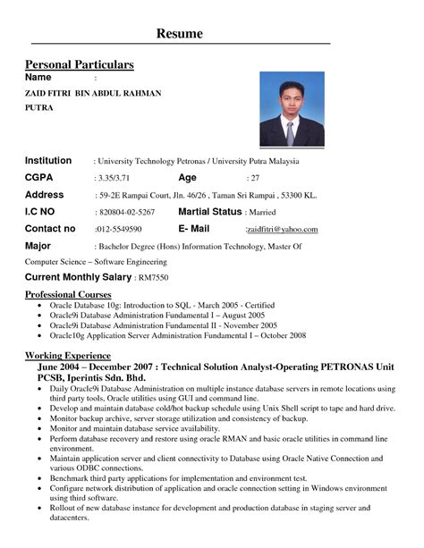 Best Resume Malaysia by Format Resume Kerajaan It Resume Cover Letter Sample