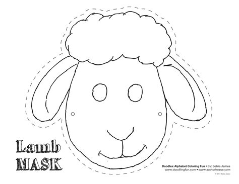 printable animal eye masks lamb mask theatrics kiddos play craft coloring