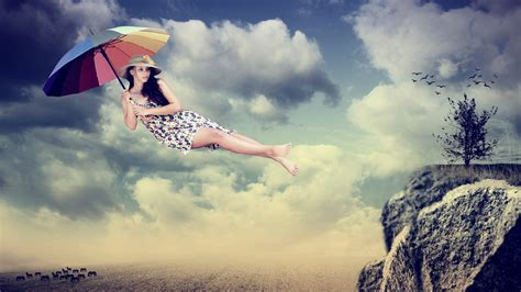 wallpaper hd umbrella girl creative pictures girl umbrella flight wallpaper