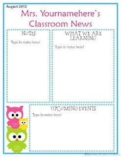 Owl Classroom Newsletter Awesome I Will Use This 2013 2014 Classroom Parents Pinterest Classroom Letter Template