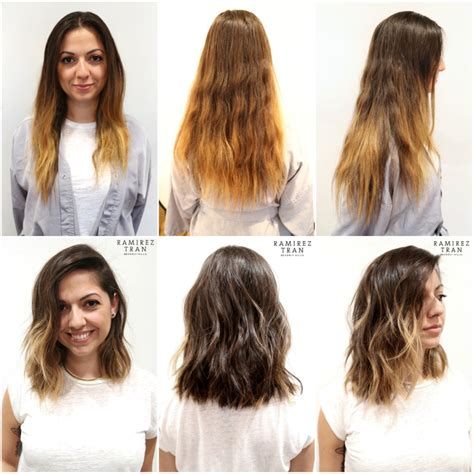 wavy long bob before and after pic all done in one day the salon in nyc ramirez tran salon