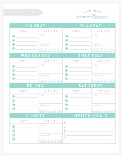 printable food and exercise planner free printable fitness planner
