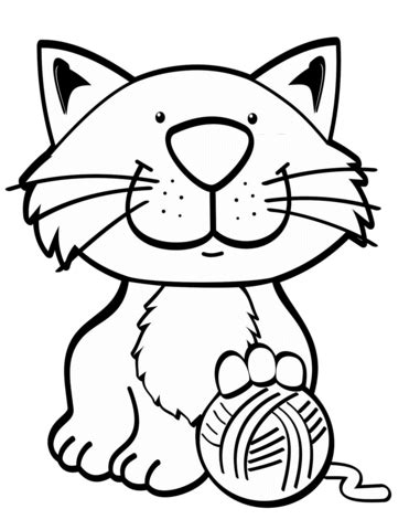cat  yarn ball coloring page  printable coloring