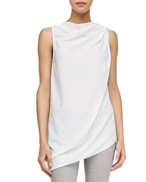 Draped Sleeveless Top helmut draped sleeveless crepe top in white lyst