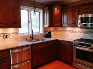 Kitchen With Mosaic Backsplash by Kitchen Tile Backsplash Ideas With Cherry Cabinets Home
