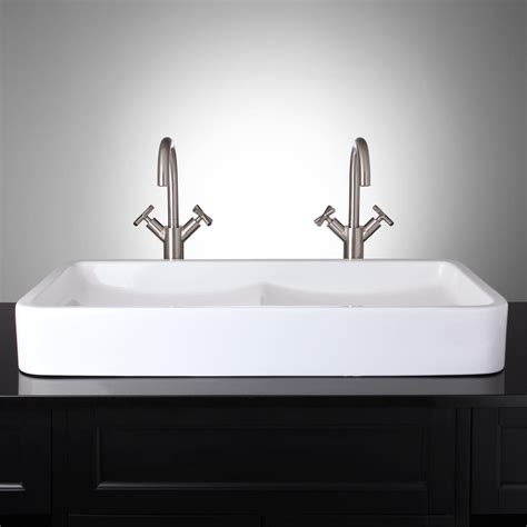 bathroom with double sink hamal rectangular double bowl porcelain vessel sink bathroom