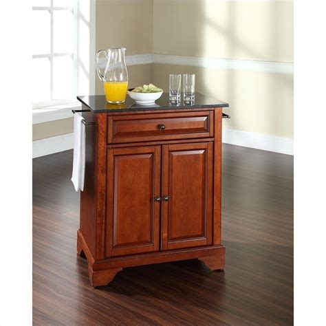 kitchen island cherry crosley furniture lafayette black granite top kitchen