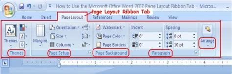 layout tab word 2007 how to use the microsoft office word 2007 page layout