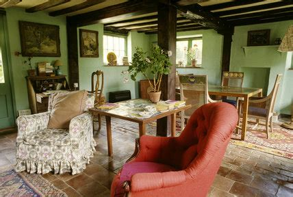 monks house  sitting room  walls  green paint