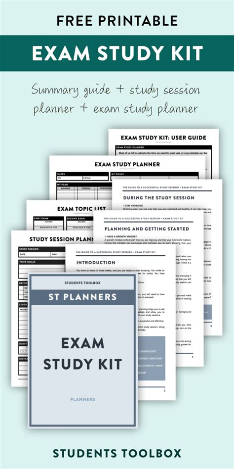 free printable exam planner exam study planner printable kit for students study