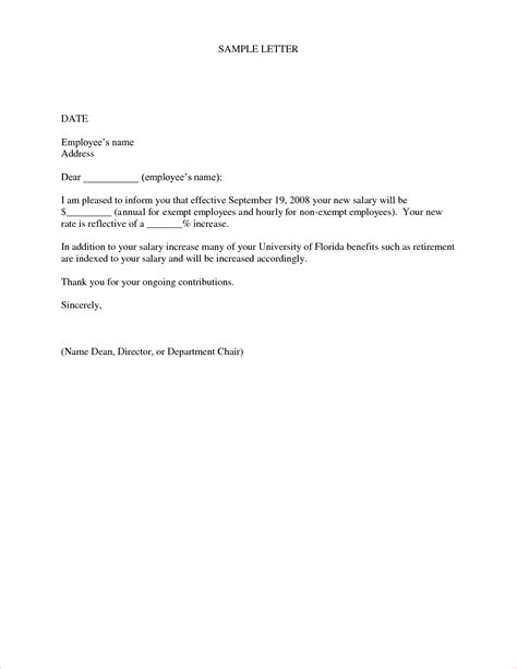 Hourly Raise Letter 4 Salary Increase Letter Templatereport Template Document Report Template