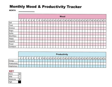 free printable mood journal mood productivity tracker printable chart journal self