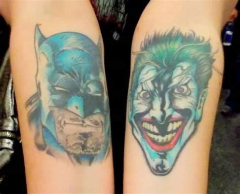 batman head tattoo mind blowing animated head tattoo of joker and batman on