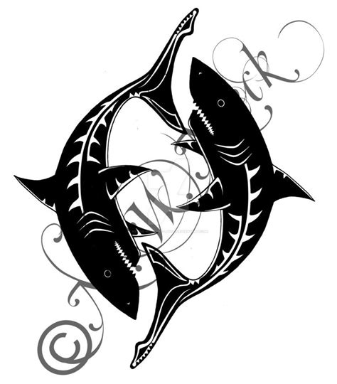 pisces tribal tattoo pisces shark design available on my da