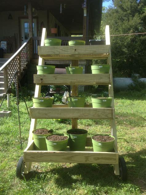 outdoor movable herb garden put wheels   pallet