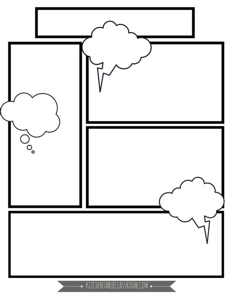 Comic Book Templates In Homeschool Writing The Kitchen Table Classroom Printable Comic Book Template