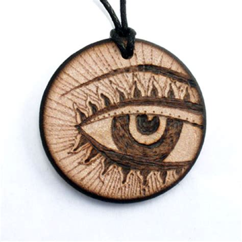 Handmade Wooden Necklaces - third eye necklace wooden necklace wood pendant by
