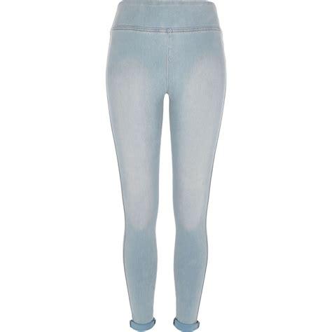 light blue leggings women lyst river island light blue high waisted denim leggings