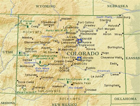 colorado map with cities colorado
