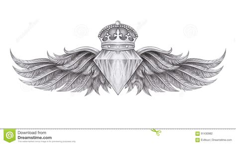 diamond with wings tattoo designs wings stock illustration illustration of