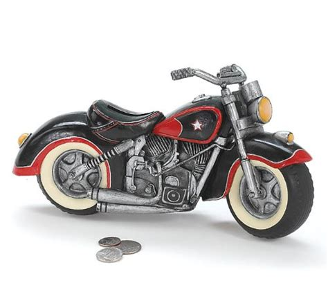black motorcycle shaped piggy bank home decor
