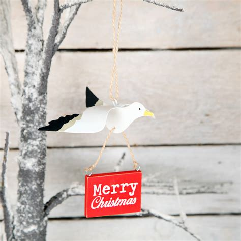 seagull merry christmas tree decoration by red berry apple
