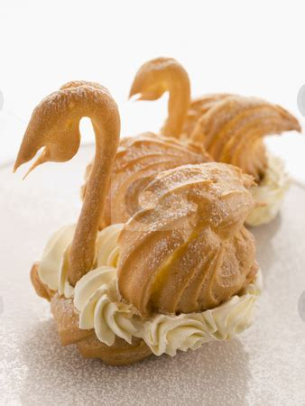 Two Choux Swans Filled With Chantilly Cream Stock Photo Choux Swans Template