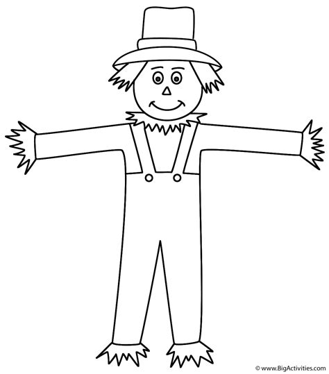 Scarecrow Coloring Page Autumn Fall Scarecrow Color Page