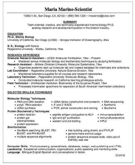 Biology Resume by Biologist Phd Resume