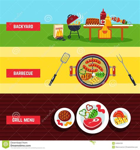 barbecue banner set stock vector image 54694159