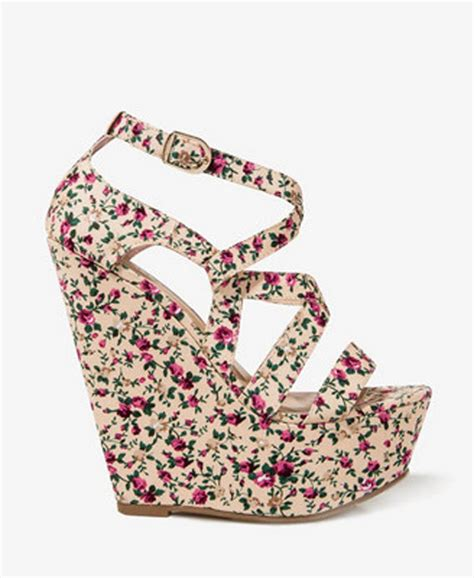 floral high heels forever 21 fashion world wedges for the summer 2013