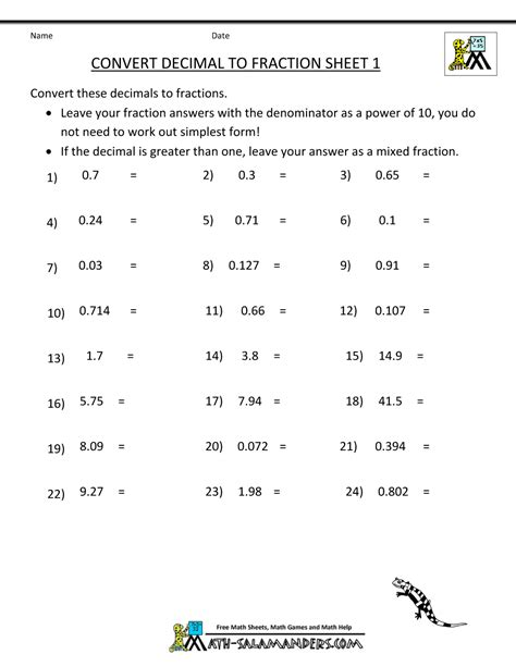 decimal to fraction worksheet with answers convert decimal to fraction