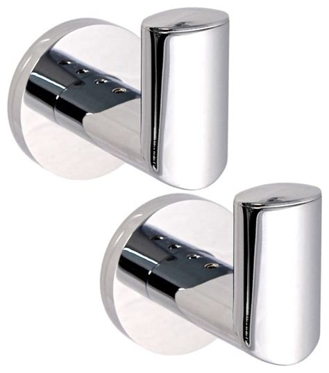 Basic Bath Hooks Set Of 2 Polished Chrome Contemporary Modern Bathroom Hooks